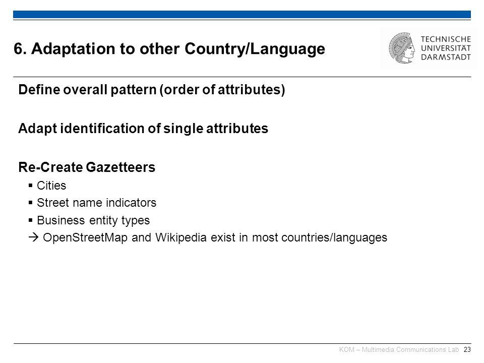 KOM – Multimedia Communications Lab23 Define overall pattern (order of attributes) Adapt identification of single attributes Re-Create Gazetteers Citi