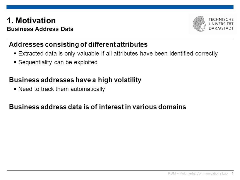 KOM – Multimedia Communications Lab15 1.Motivation Why Business Address Data.