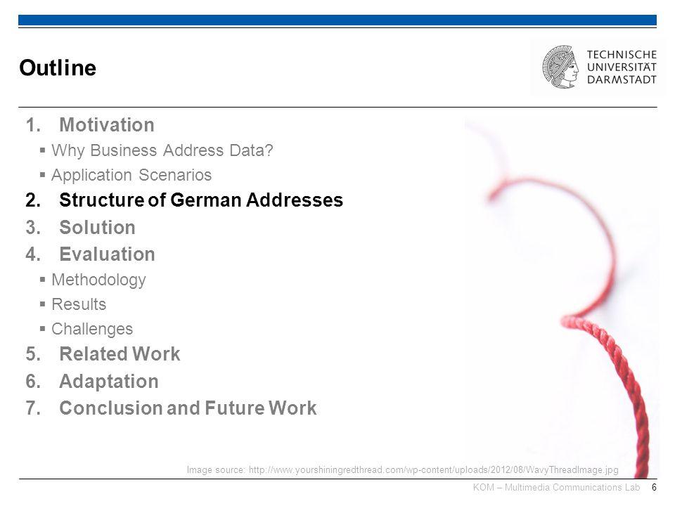 KOM – Multimedia Communications Lab6 1.Motivation Why Business Address Data? Application Scenarios 2.Structure of German Addresses 3.Solution 4.Evalua