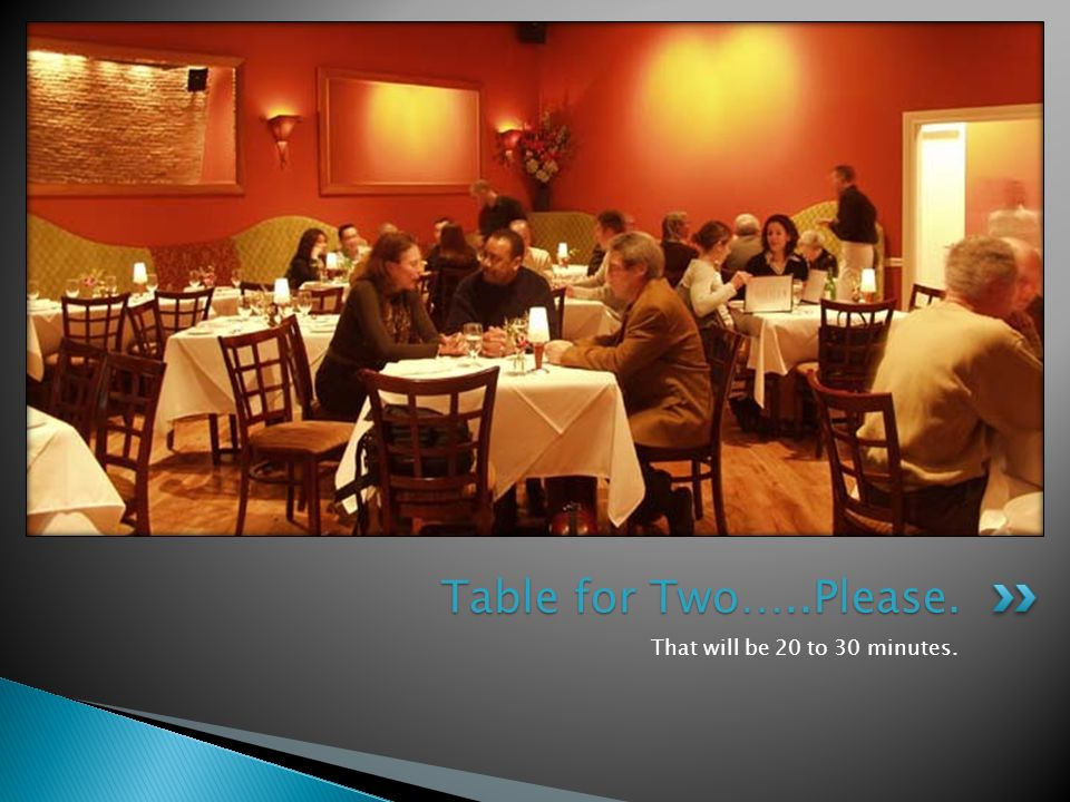 That will be 20 to 30 minutes. Table for Two…..Please.