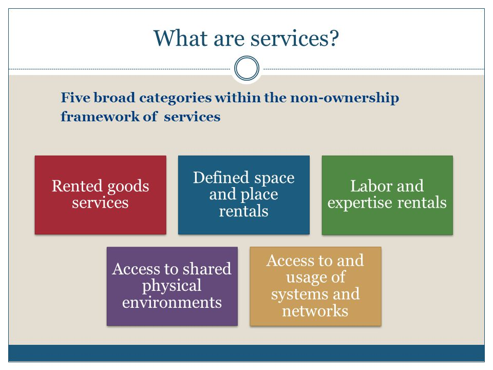 What are services? Rented goods services Defined space and place rentals Labor and expertise rentals Access to shared physical environments Access to