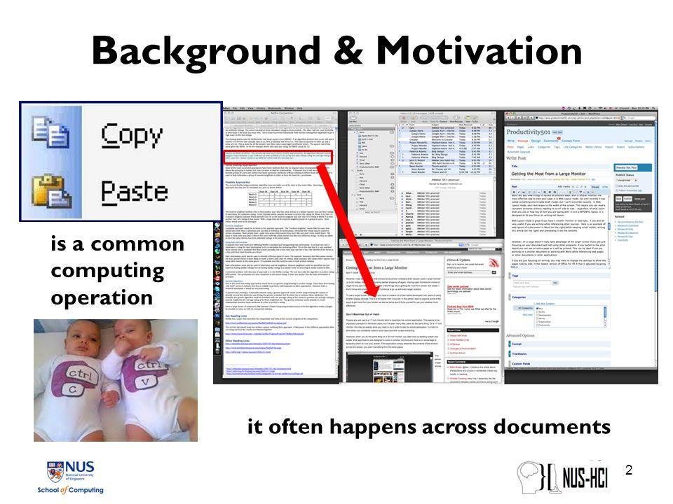 Background & Motivation Current copy-paste techniques: 3 Ctrl-C, Ctrl-VMenu selection Drag & dropX-Win Chapuis and Roussel.