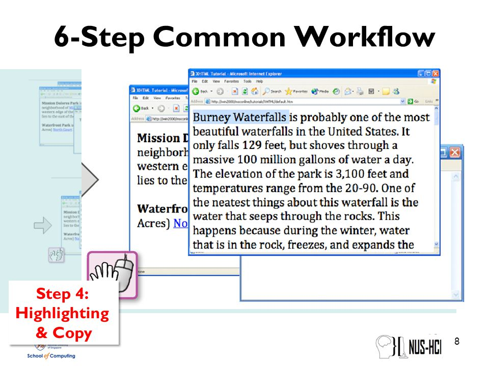 6-Step Common Workflow 8 Step 4: Highlighting & Copy Step 4: Highlighting & Copy