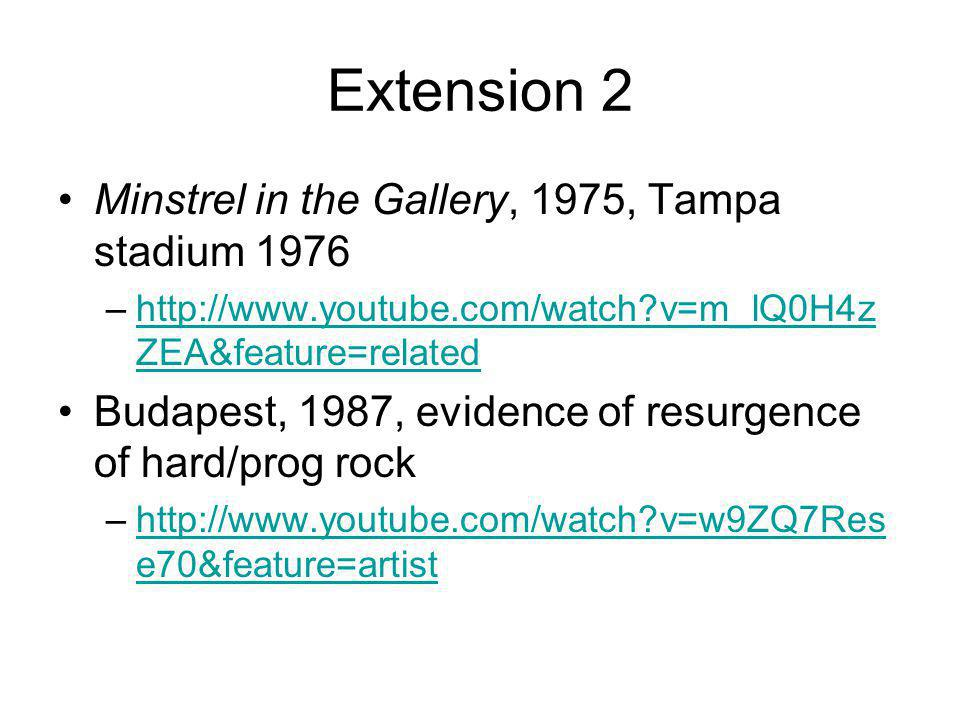 Extension 2 Minstrel in the Gallery, 1975, Tampa stadium 1976 –http://www.youtube.com/watch v=m_lQ0H4z ZEA&feature=relatedhttp://www.youtube.com/watch v=m_lQ0H4z ZEA&feature=related Budapest, 1987, evidence of resurgence of hard/prog rock –http://www.youtube.com/watch v=w9ZQ7Res e70&feature=artisthttp://www.youtube.com/watch v=w9ZQ7Res e70&feature=artist