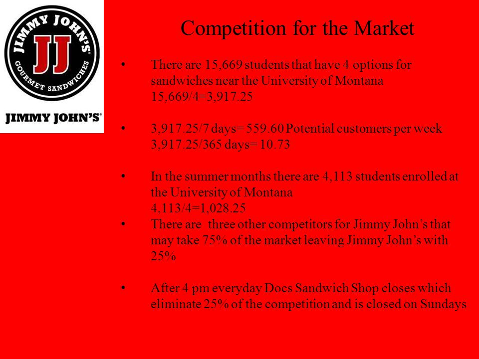 Competition for the Market There are 15,669 students that have 4 options for sandwiches near the University of Montana 15,669/4=3,917.25 3,917.25/7 da