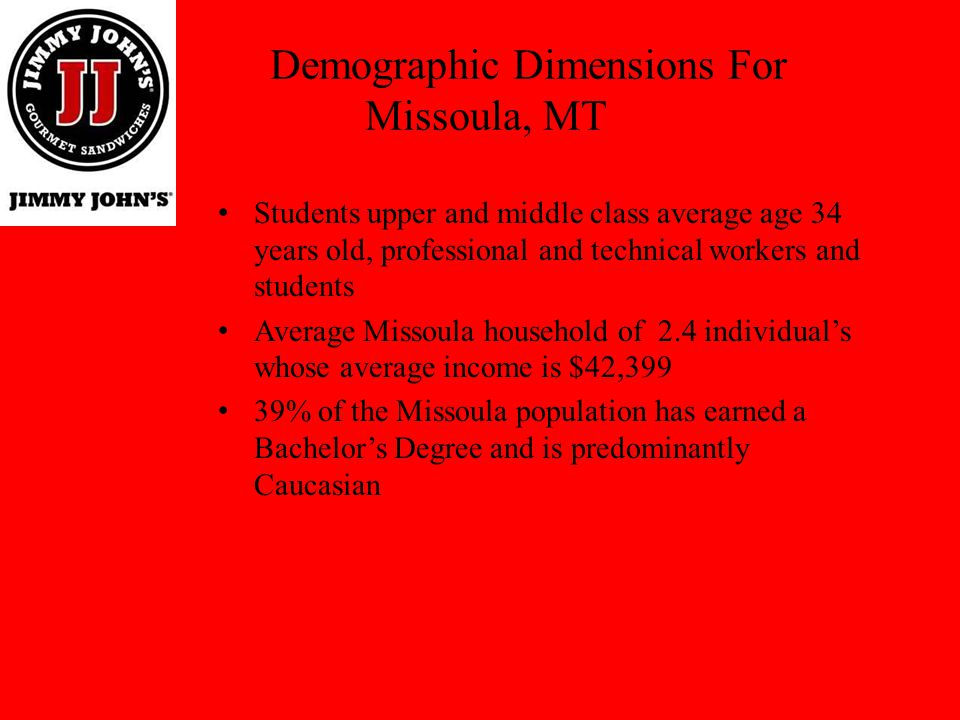Demographic Dimensions For Missoula, MT Students upper and middle class average age 34 years old, professional and technical workers and students Aver