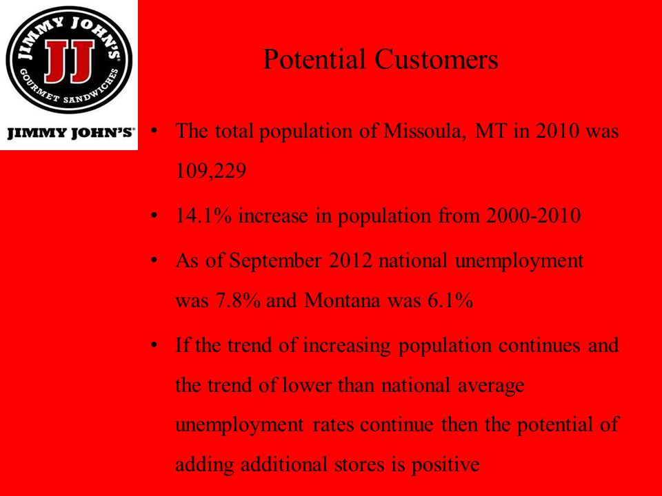Potential Customers The total population of Missoula, MT in 2010 was 109,229 14.1% increase in population from 2000-2010 As of September 2012 national
