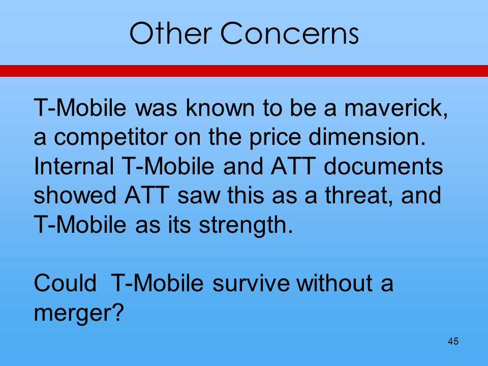 Other Concerns T-Mobile was known to be a maverick, a competitor on the price dimension.