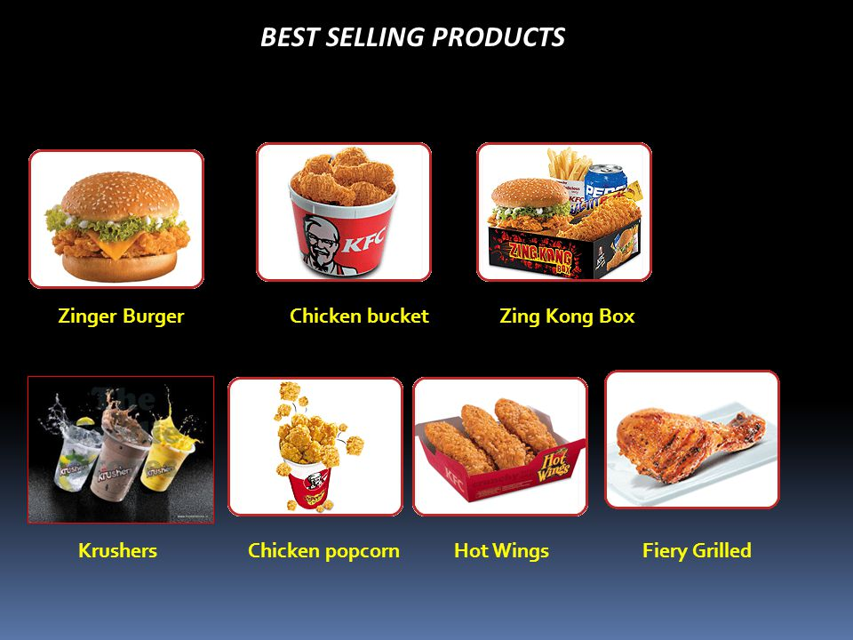 BEST SELLING PRODUCTS KrushersFiery GrilledChicken popcornHot Wings Zinger BurgerChicken bucketZing Kong Box