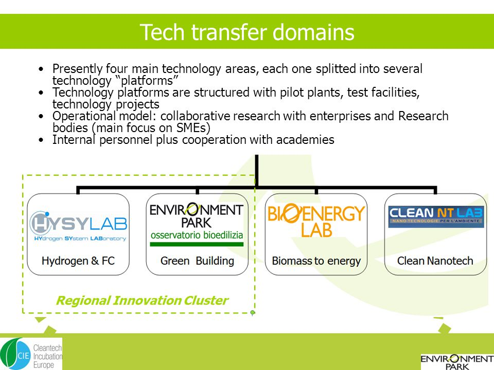 Tech transfer domains Presently four main technology areas, each one splitted into several technology platforms Technology platforms are structured with pilot plants, test facilities, technology projects Operational model: collaborative research with enterprises and Research bodies (main focus on SMEs) Internal personnel plus cooperation with academies