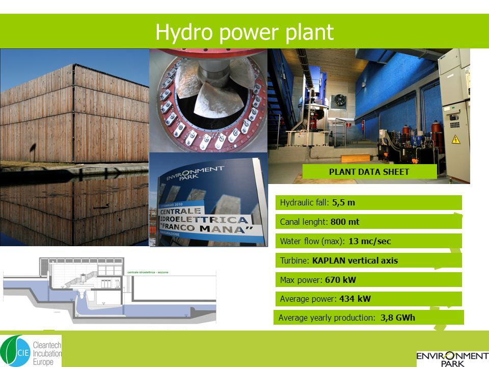 Hydro power plant PLANT DATA SHEET Hydraulic fall: 5,5 m Canal lenght: 800 mt Turbine: KAPLAN vertical axis Max power: 670 kW Water flow (max): 13 mc/