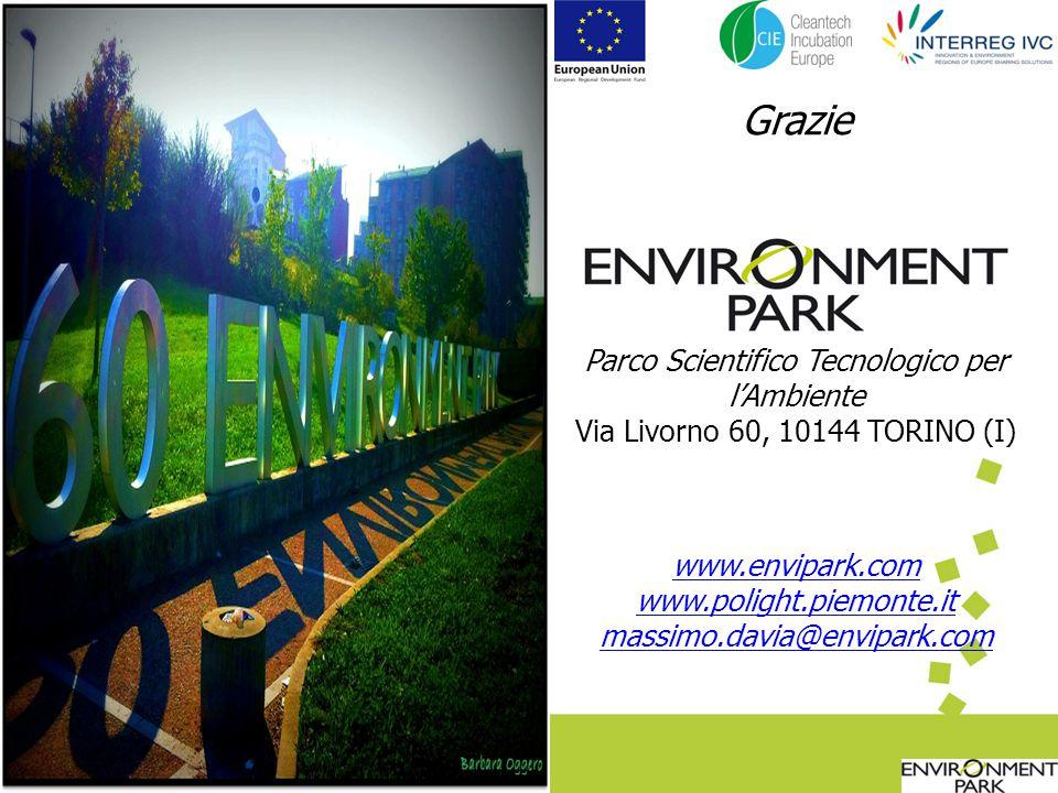 Parco Scientifico Tecnologico per lAmbiente Via Livorno 60, 10144 TORINO (I) www.envipark.com www.polight.piemonte.it massimo.davia@envipark.com Grazie