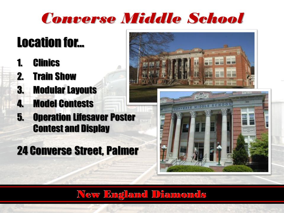 Converse Middle School Location for… 1.Clinics 2.Train Show 3.Modular Layouts 4.Model Contests 5.Operation Lifesaver Poster Contest and Display 24 Converse Street, Palmer