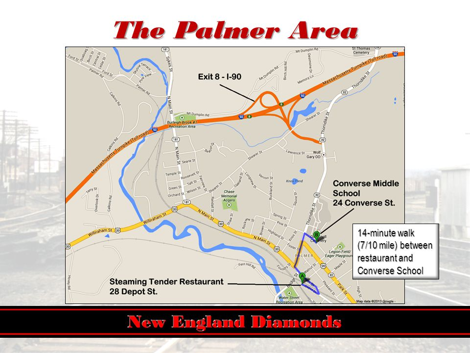 The Palmer Area 14-minute walk (7/10 mile) between restaurant and Converse School