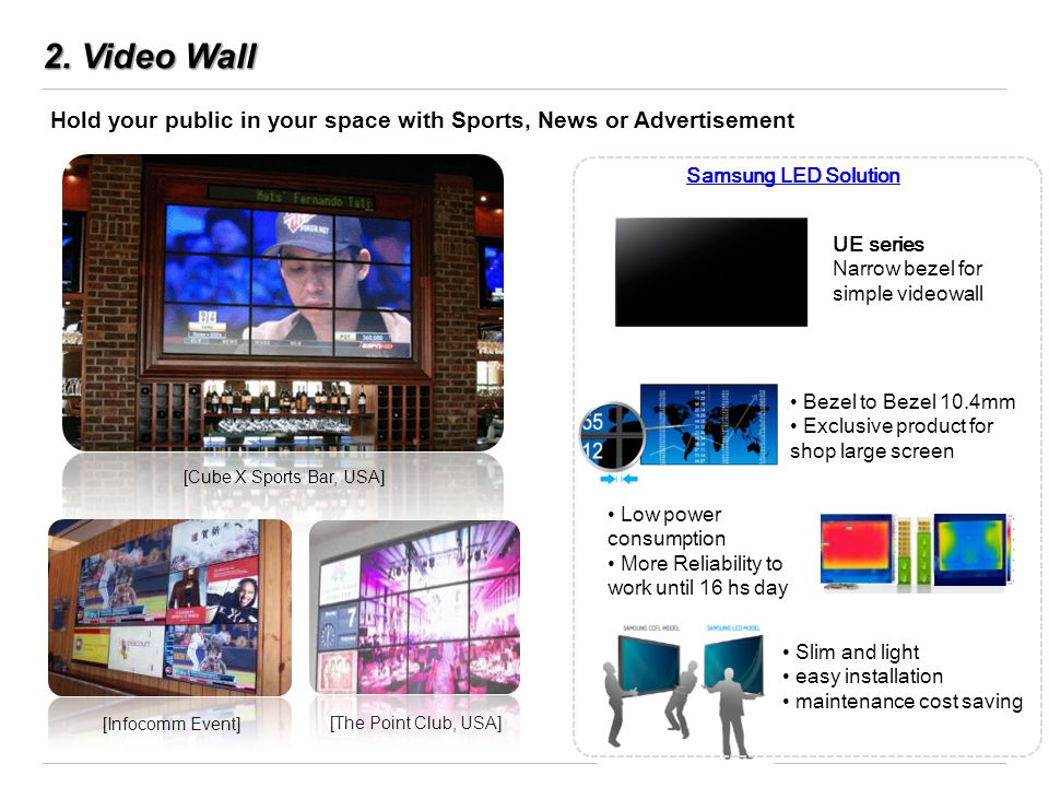 2. Video Wall Hold your public in your space with Sports, News or Advertisement [The Point Club, USA] [Cube X Sports Bar, USA] [Infocomm Event] Samsun