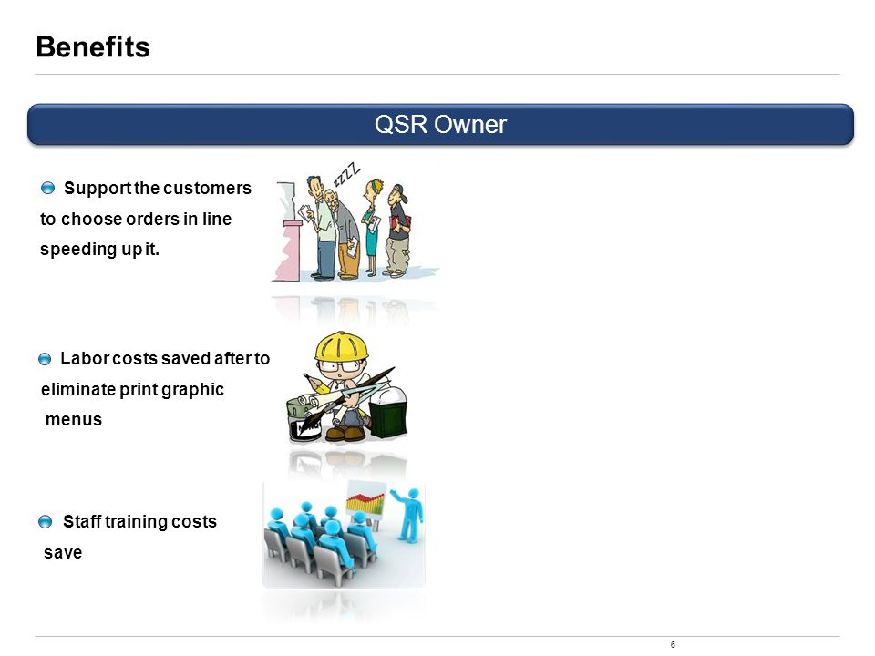 6 Benefits QSR Owner Labor costs saved after to eliminate print graphic menus Staff training costs save Support the customers to choose orders in line speeding up it.
