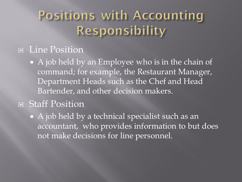 Line Position A job held by an Employee who is in the chain of command; for example, the Restaurant Manager, Department Heads such as the Chef and Hea