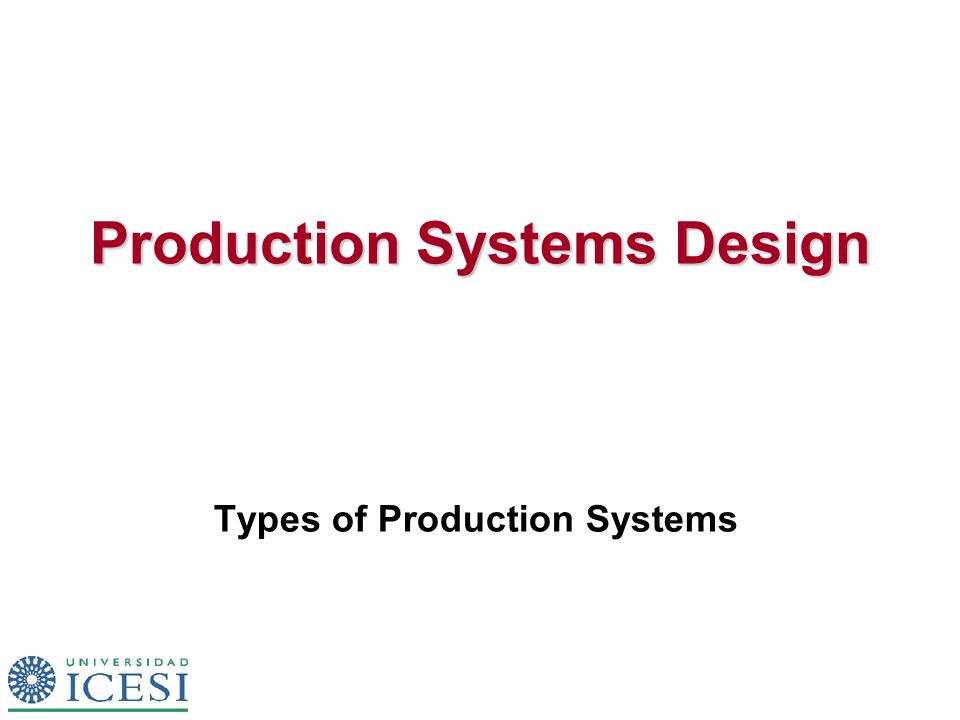 Production Systems Design Types of Production Systems