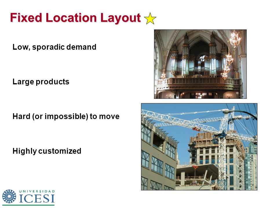 Fixed Location Layout Low, sporadic demand Large products Hard (or impossible) to move Highly customized