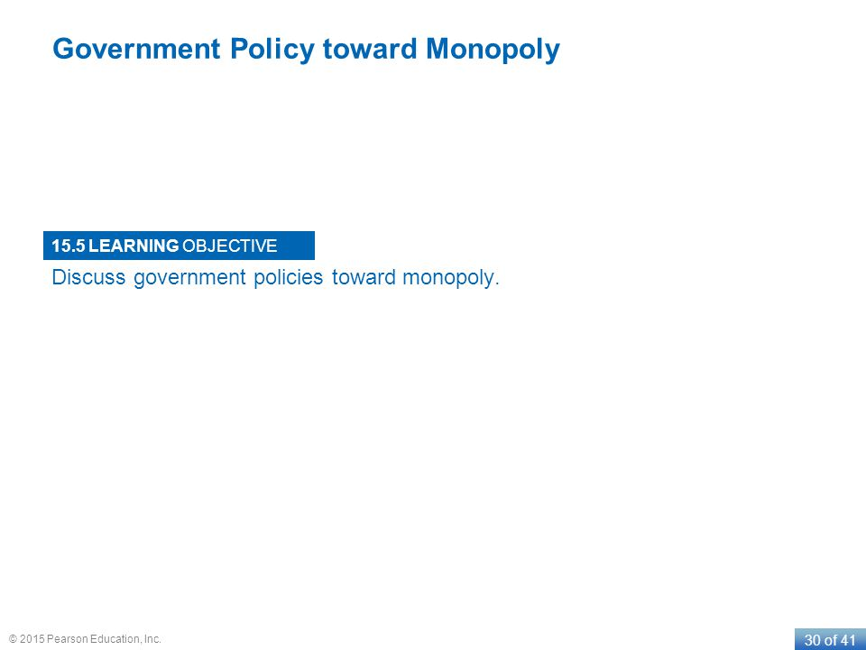 LEARNING OBJECTIVE 30 of 41 © 2015 Pearson Education, Inc. Government Policy toward Monopoly 15.5 Discuss government policies toward monopoly.
