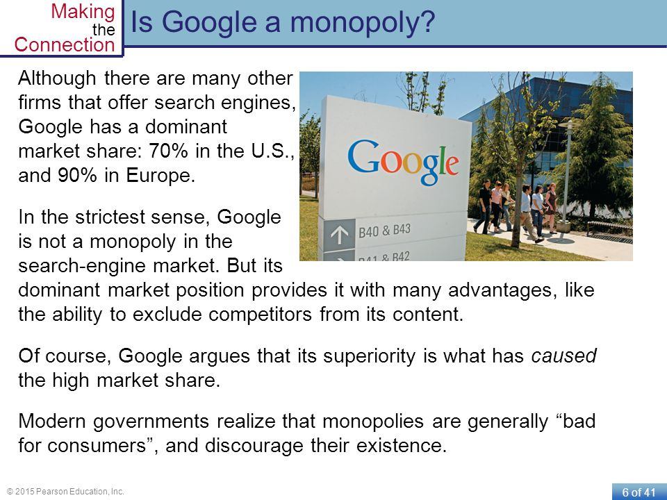 6 of 41 © 2015 Pearson Education, Inc. Making the Connection Is Google a monopoly? Although there are many other firms that offer search engines, Goog