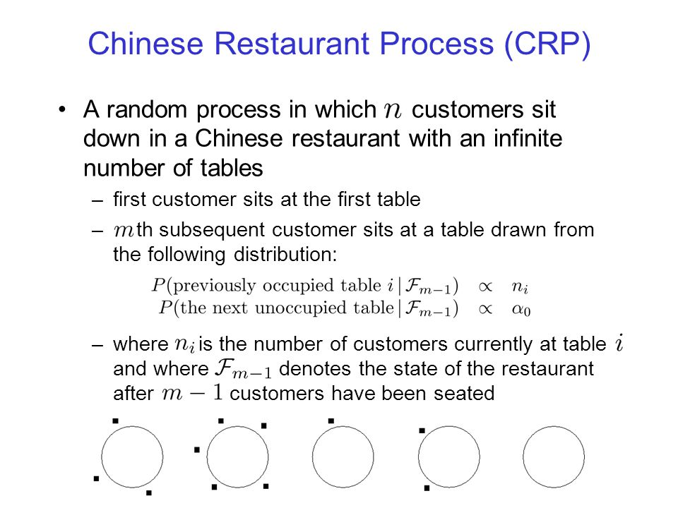 The CRP and Clustering Data points are customers; tables are mixture components –the CRP defines a prior distribution on the partitioning of the data and on the number of tables This prior can be completed with: –a likelihood---e.g., associate a parameterized probability distribution with each table –a prior for the parameters---the first customer to sit at table chooses the parameter vector,, for that table from a prior We want to write out all of these probabilities and then take a scale parameter to zero