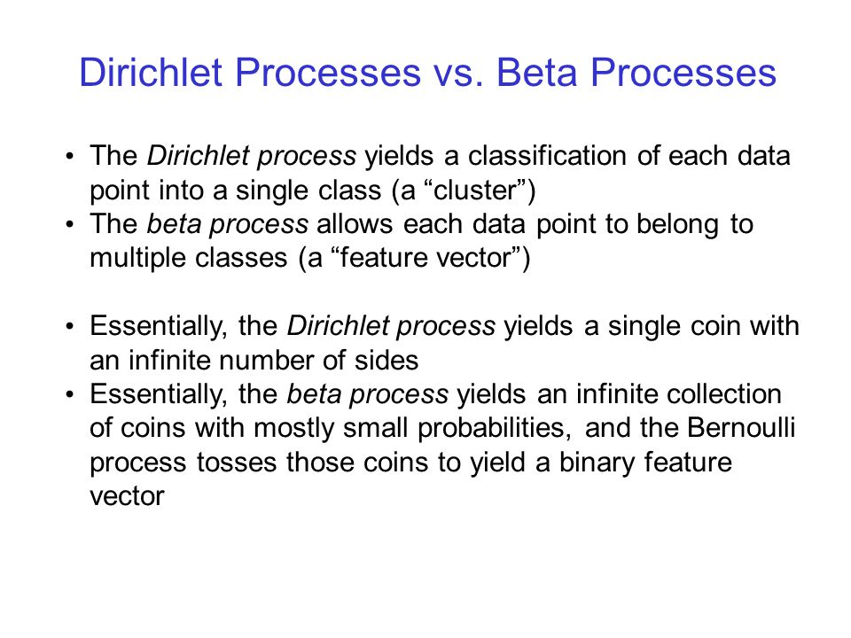 Beta Processes For the beta process, the rate function is given as follows (on the space ): And the resulting random measure can be written simply as: degenerate Beta(0,c) distribution Base measure