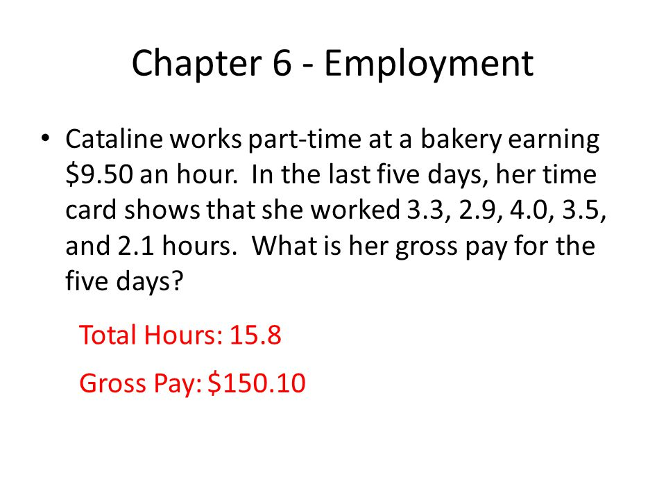 Chapter 6 - Employment Miguel pays $25 semimonthly for health insurance, which is 20% of the total cost.
