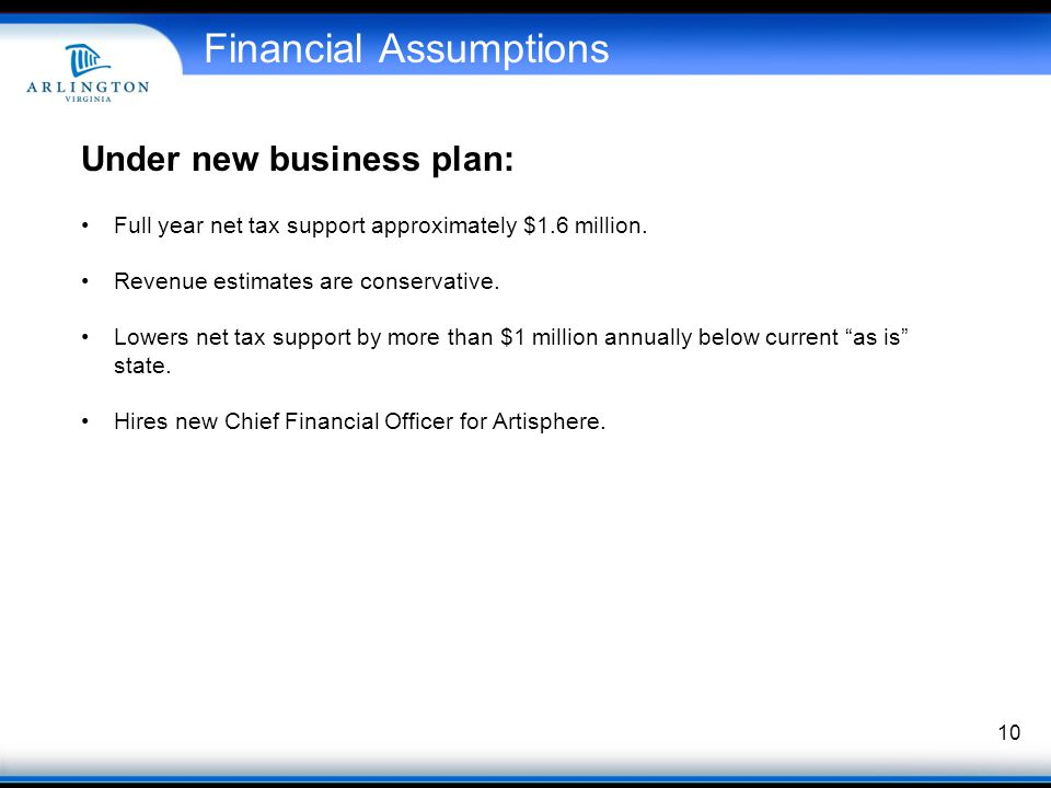 10 Financial Assumptions Under new business plan: Full year net tax support approximately $1.6 million.