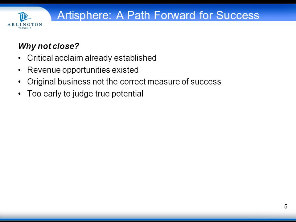 Artisphere: A Path Forward for Success Why not close.