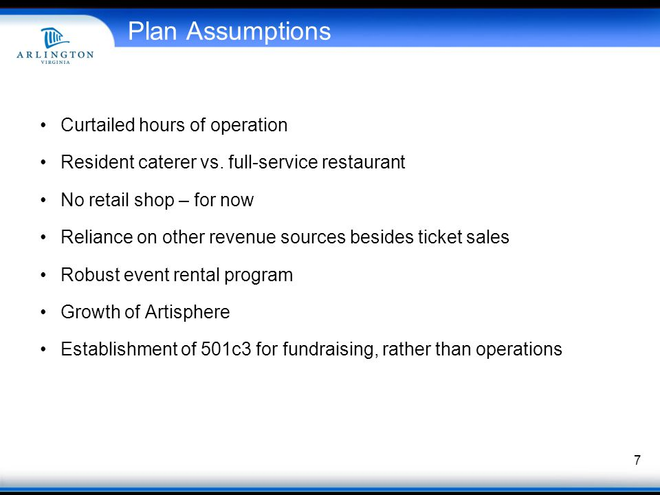 Plan Assumptions Curtailed hours of operation Resident caterer vs.