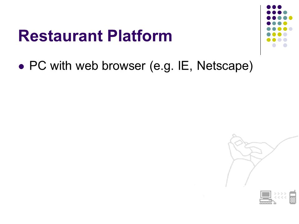 Restaurant Platform PC with web browser (e.g. IE, Netscape)