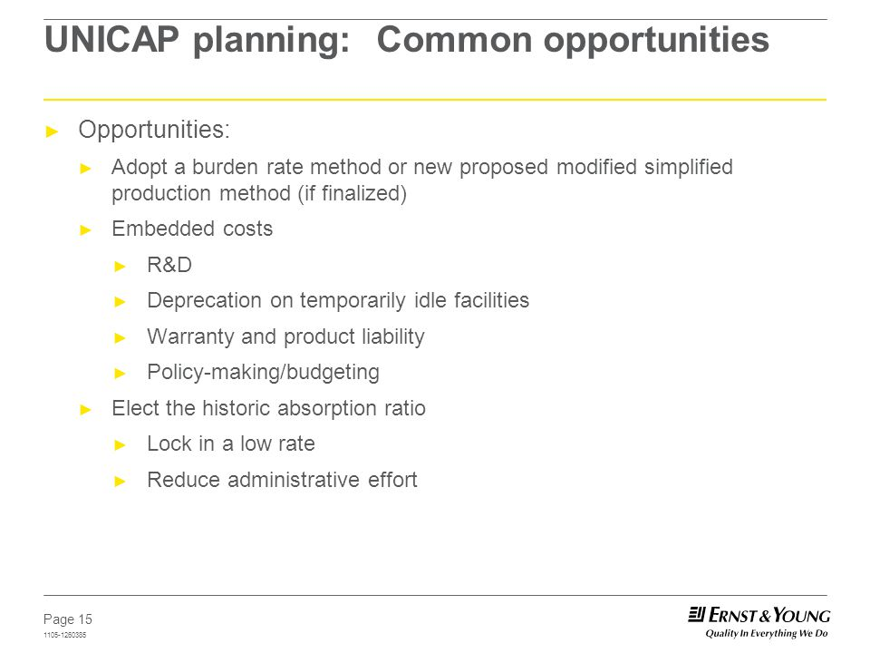Page 15 1105-1260385 UNICAP planning: Common opportunities Opportunities: Adopt a burden rate method or new proposed modified simplified production me