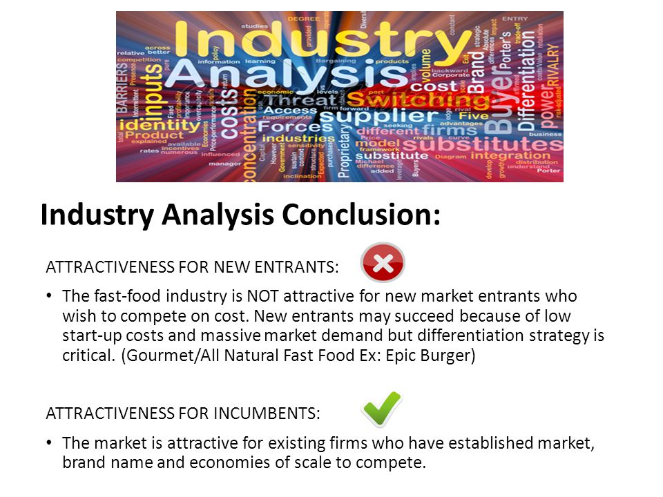 Industry Analysis Conclusion: ATTRACTIVENESS FOR NEW ENTRANTS: The fast-food industry is NOT attractive for new market entrants who wish to compete on cost.