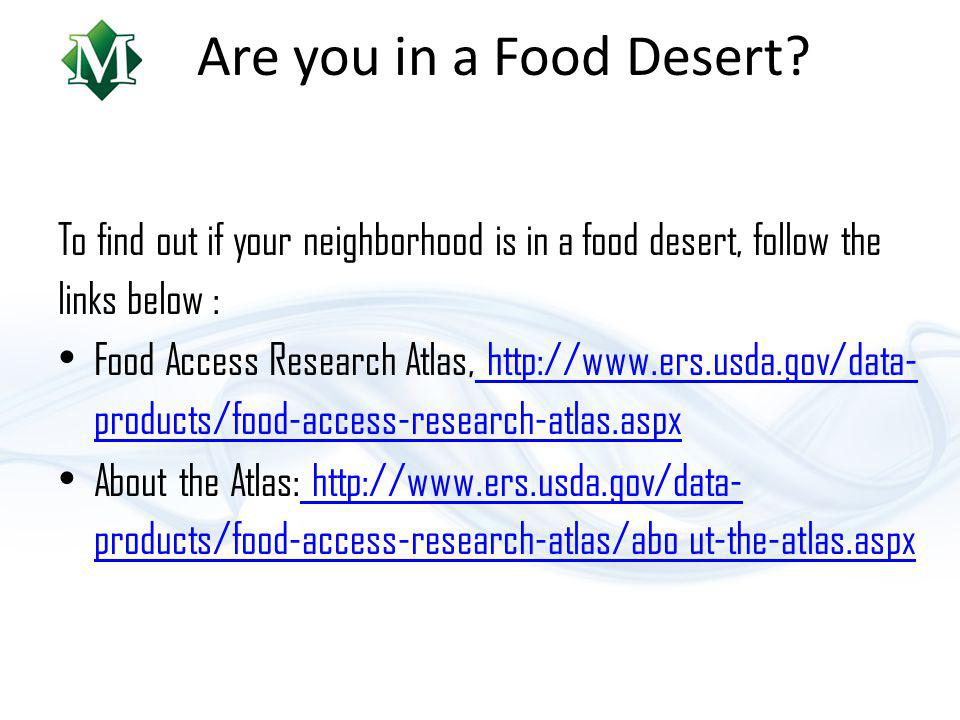 Are you in a Food Desert.