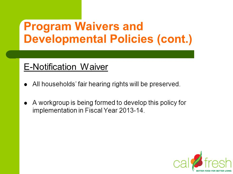 Program Waivers and Developmental Policies (cont.) E-Notification Waiver All households fair hearing rights will be preserved. A workgroup is being fo