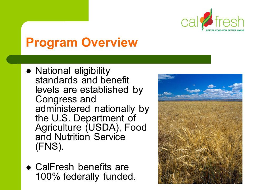 Program Overview National eligibility standards and benefit levels are established by Congress and administered nationally by the U.S. Department of A