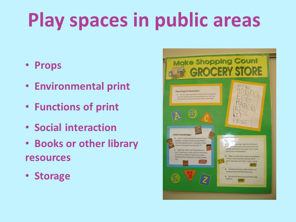 Props Environmental print Functions of print Social interaction Books or other library resources Storage Play spaces in public areas
