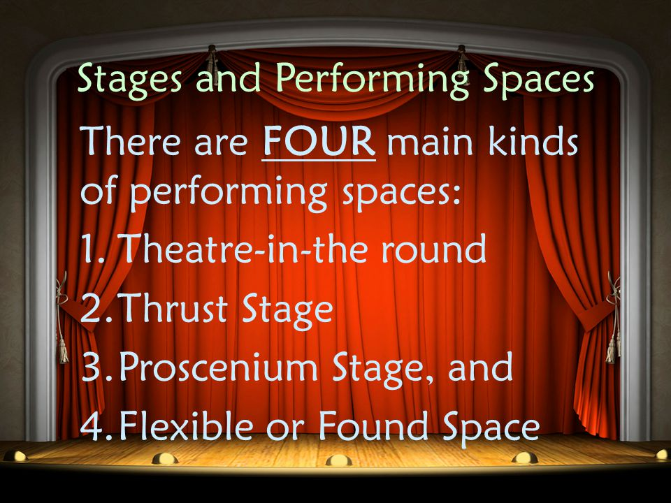 Stages and Performing Spaces Todays stages are very different in design and construction from their historical ancestors, however, they still serve the same purpose: To provide a venue for a group of people (audience) to gather and view a performance.