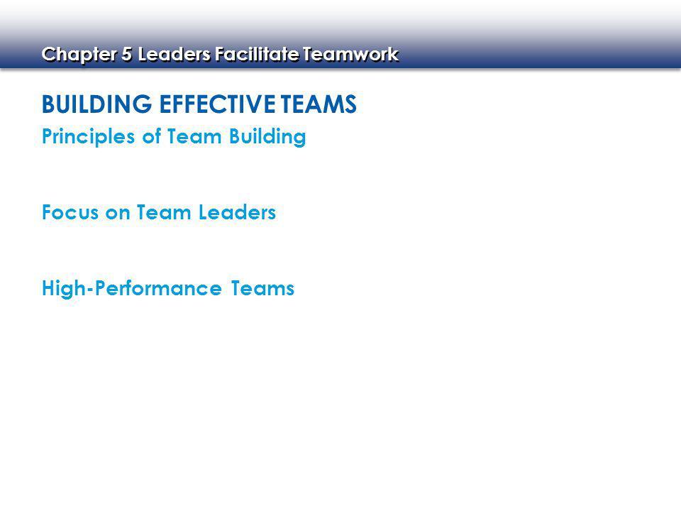 BUILDING EFFECTIVE TEAMS Principles of Team Building Focus on Team Leaders High-Performance Teams