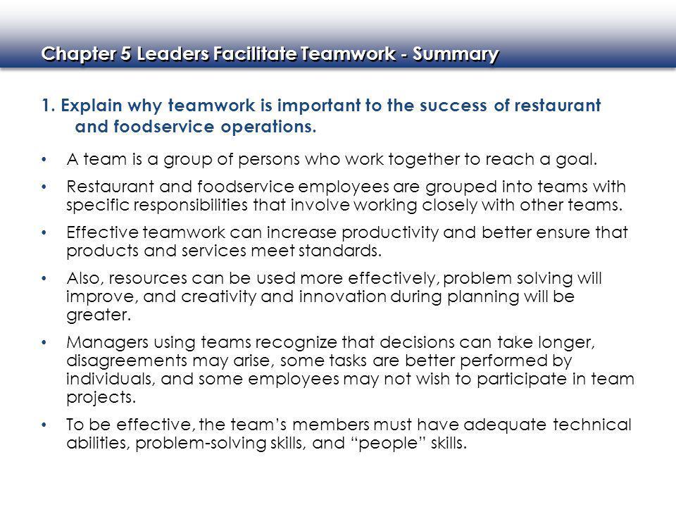 Chapter 5 Leaders Facilitate Teamwork - Summary 1.