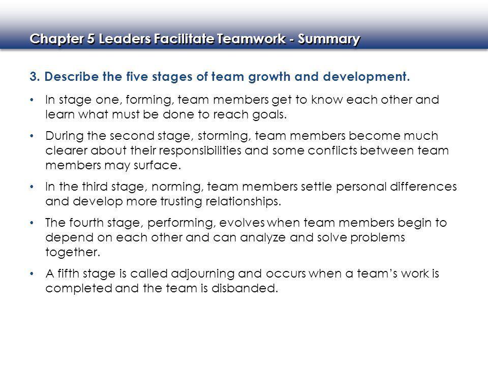 Chapter 5 Leaders Facilitate Teamwork - Summary 3.