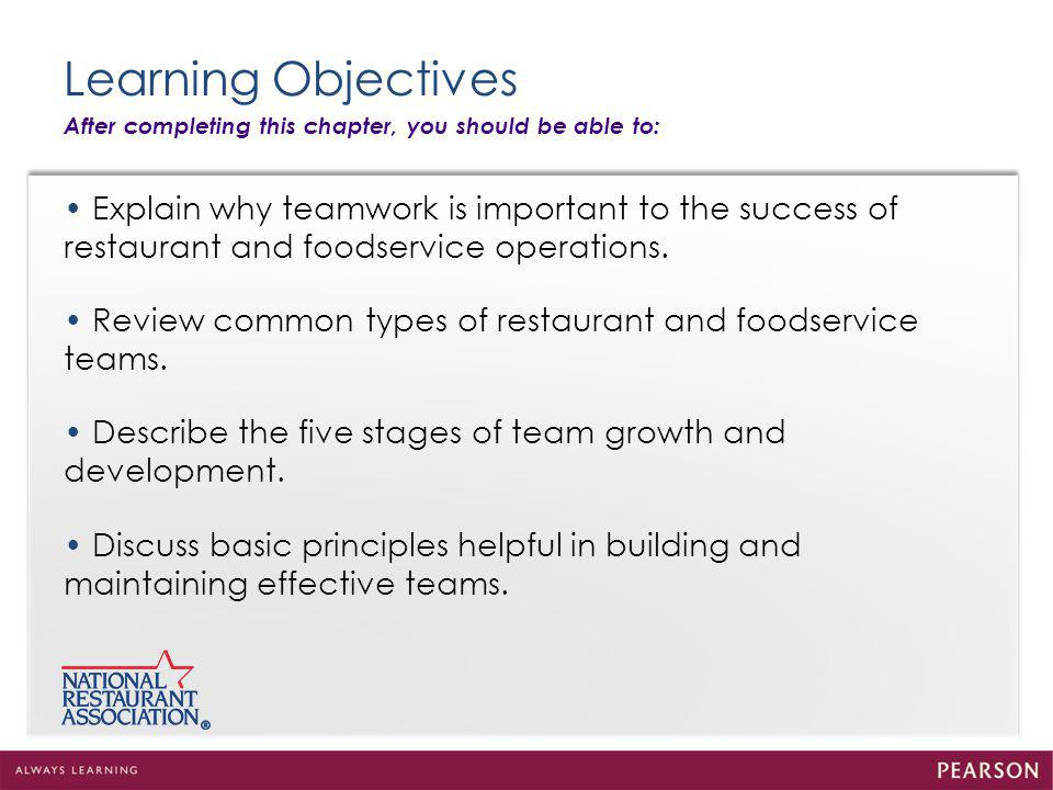 Learning Objectives After completing this chapter, you should be able to: Explain why teamwork is important to the success of restaurant and foodservice operations.