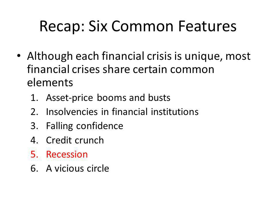 Recap: Six Common Features Although each financial crisis is unique, most financial crises share certain common elements 1.Asset-price booms and busts 2.Insolvencies in financial institutions 3.Falling confidence 4.Credit crunch 5.Recession 6.A vicious circle