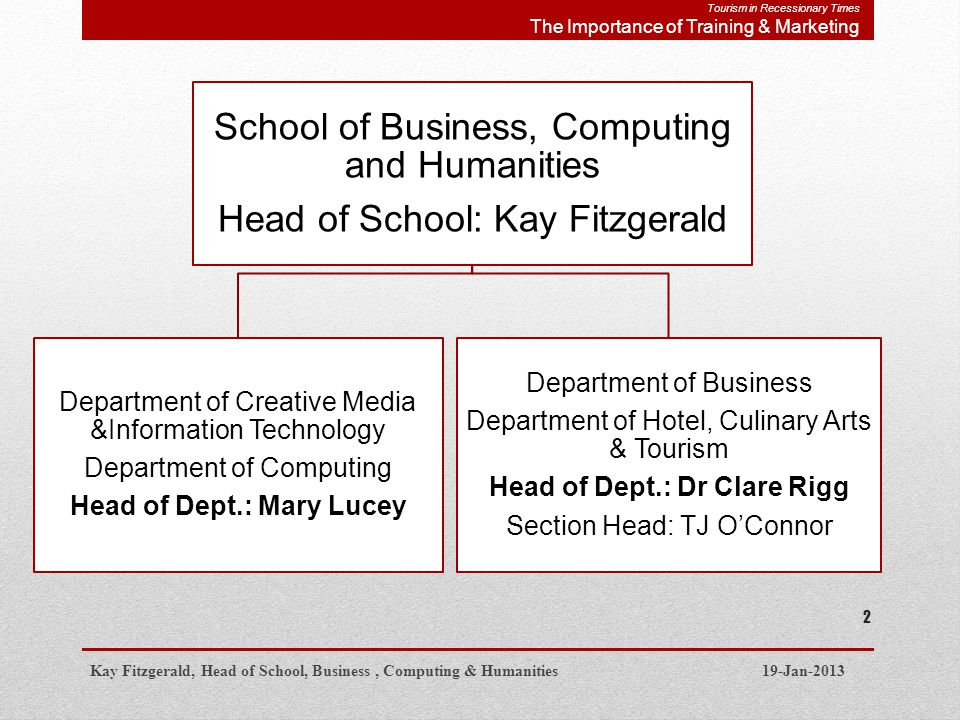School of Business, Computing and Humanities Head of School: Kay Fitzgerald Department of Creative Media &Information Technology Department of Computing Head of Dept.: Mary Lucey Department of Business Department of Hotel, Culinary Arts & Tourism Head of Dept.: Dr Clare Rigg Section Head: TJ OConnor Kay Fitzgerald, Head of School, Business, Computing & Humanities 19-Jan-2013 2 Tourism in Recessionary Times The Importance of Training & Marketing