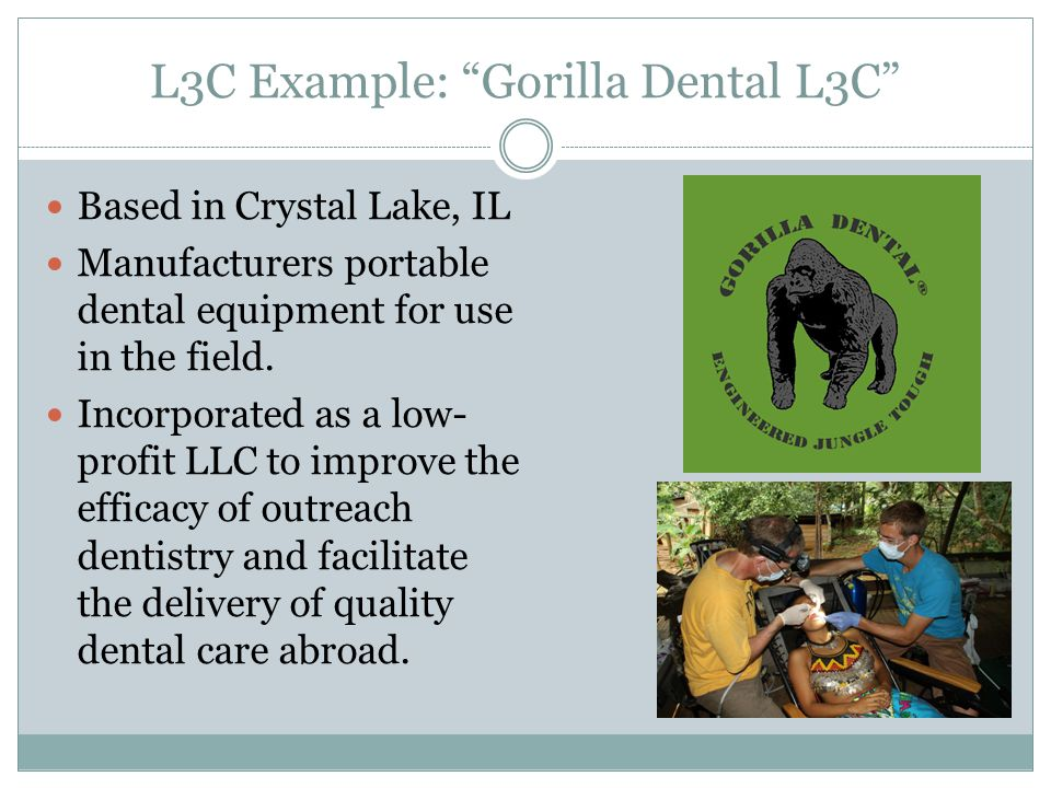 L3C Example: Gorilla Dental L3C Based in Crystal Lake, IL Manufacturers portable dental equipment for use in the field.