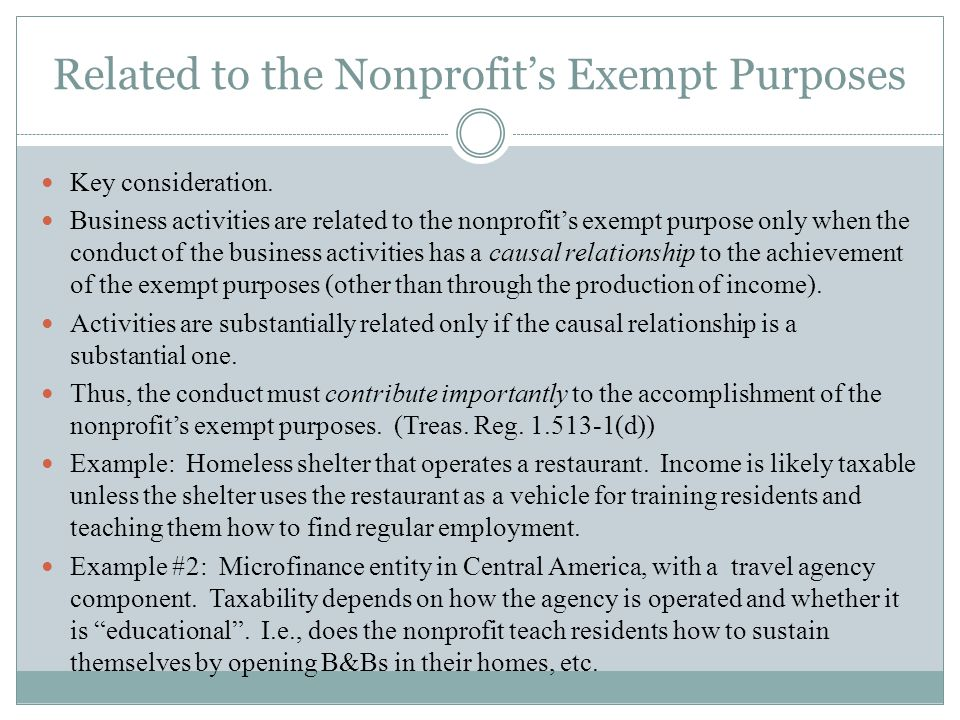 Related to the Nonprofits Exempt Purposes Key consideration.