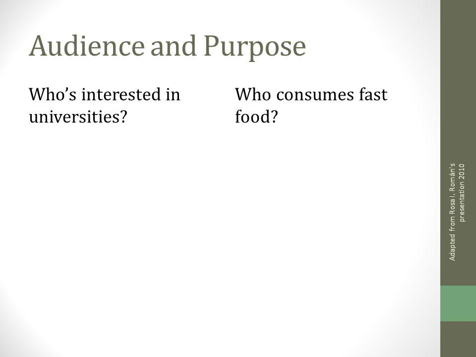 Audience and Purpose Whos interested in universities? Who consumes fast food? Adapted from Rosa I. Román's presentation 2010