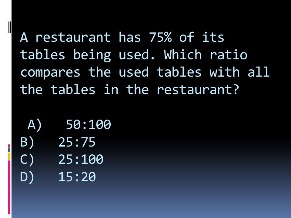 A restaurant has 75% of its tables being used.