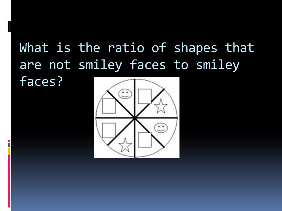 What is the ratio of shapes that are not smiley faces to smiley faces?